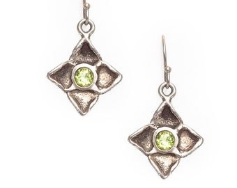 dogwood flower silver earrings with peridots