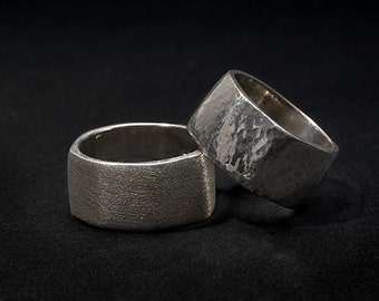 wide organic silver band, hand hammered or diamond finish