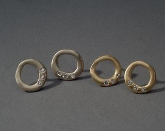 18K gold organic circle earrings with diamonds