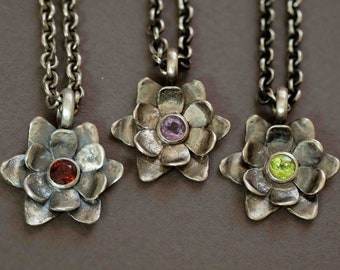 succulent flower pendant in sterling silver with either garnet, peridot, or amethyst