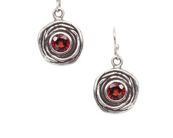 hedge rose silver earrings with either garnets, peridots, or amethysts