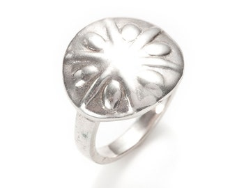 sand dollar silver ring