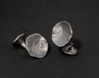 textured concave shape cufflinks in sterling silver