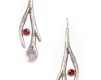 long stem, leaf, and berry silver earrings with red garnets