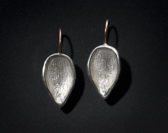 texturized leaf silver earrings with 14K rose gold wire