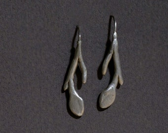 stem and leaf earrings in sterling silver