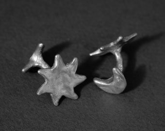sun and moon cufflinks in sterling silver