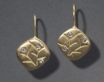 18K gold and diamond earrings with carved branch detail - spring blossom