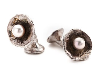 "unisex silver cufflinks with freshwater pearls - ""the offering"""