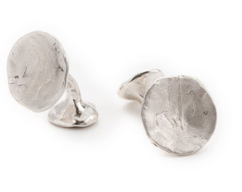 """unisex silver cufflinks. concave shape, texture.  """"the offering"""""""