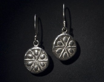 sand dollar silver earrings