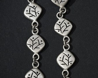 "oxidized silver earrings nature motif ""spring blossom"""