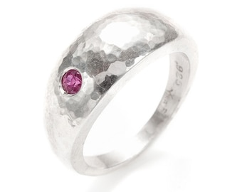 hand hammered silver dome ring with a ruby