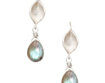succulent leaf silver earrings with smooth labradorite briolettes