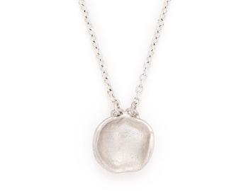 """silver concave shape pendant necklace. """"charisma"""""""