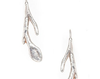 stem and leaf silver earrings