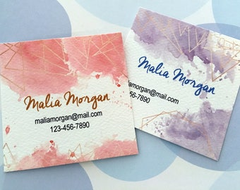 Printed Business Cards, Custom Business Cards, Watercolor Card - Set of 48