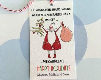 Personalized Christmas Gift Tags, Holiday Tags, Christmas Tags, Funny Tag, Set of 20