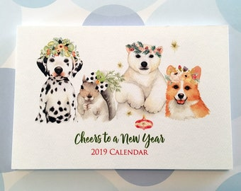 2019 Calendar, Animal Calendar, Desk Calendar, 4x6