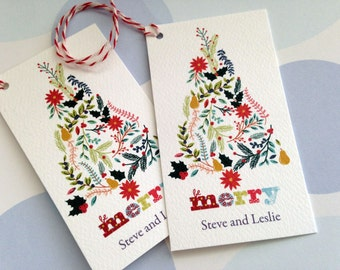 Christmas Gift Tags Personalized, modern Holiday Tags, Gift Tags, Set of 20