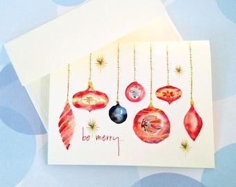 Christmas Card Set, Holiday Cards, Ornament Card