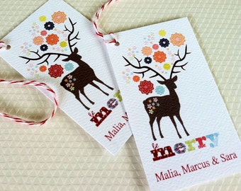 Personalized Christmas Gift Tags, Holiday Tags, Christmas Tags, Reindeer Tags, Set of 20