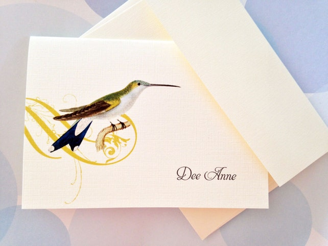Greeting Cards, Note Cards, Stationery, Card Set, Personalized Card, Hummingbird Card, Set of 8