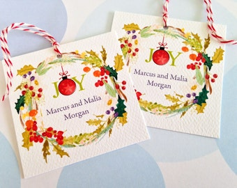 Christmas Gift Tags, Personalized Christmas Tags, Custom Holiday Tags, Set of 20