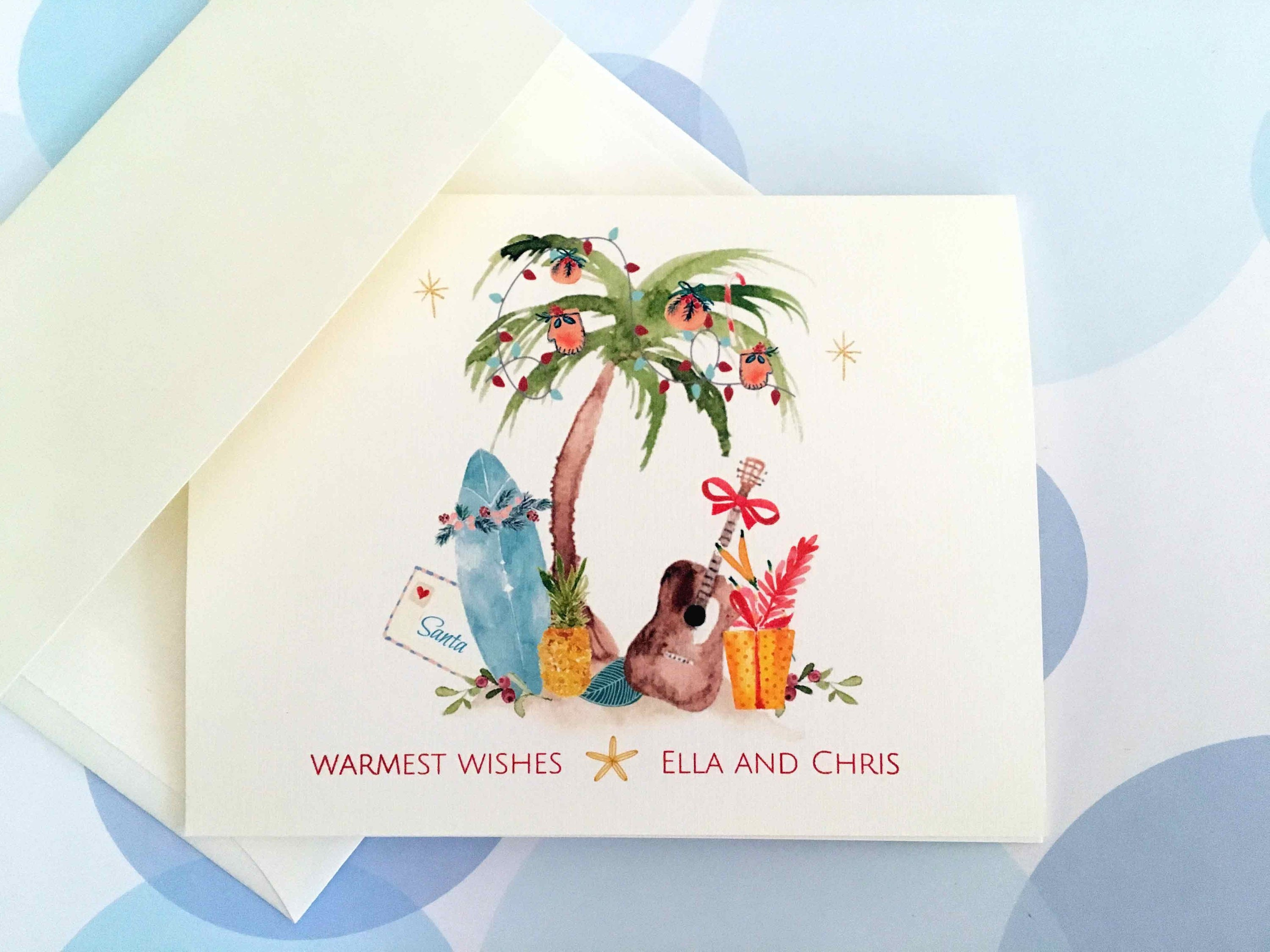 Personalized Christmas Card Holiday Cards Tropical | Etsy