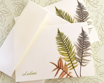 Greeting Cards, Note Cards, Fern Cards, Card Set, Personalized Card, Set of 8
