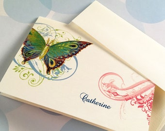 Greeting Cards, Note Cards, Stationery, Card Set, Personalized Card, Butterfly Card, Set of 8