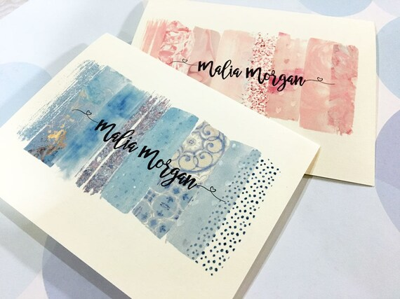Watercolor Note Cards, Custom Stationery,  Personalized Greeting Card, Personalized Card, Set of 8