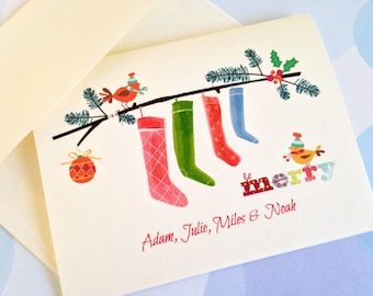 Personalized Christmas Card, Custom Holiday Card, Set of 10