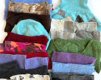 Cashmere Sweater scraps #1, supplies for crafts, cashmere wool bundle, penny rugs, doll making, flower making