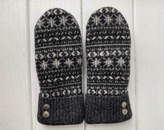Sweater Mittens - Wool Mittens made from recycled sweaters - Gift for her- Black, Nordic - fair isle - felted mittens - Bernie Mittens