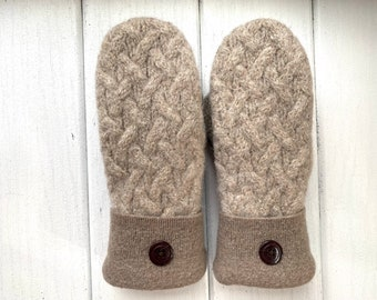 Wool Sweater Mittens - Wool Mittens from recycled sweaters - Gift for her- Cabled upcycled sweater mittens - felted mittens - Fisherman