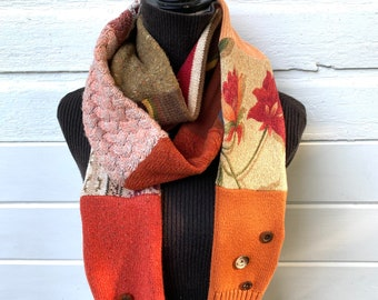 Sweater Scarf - Long Patchwork Scarf from recycled sweaters - upcycled sweater scarf - orange - beige -  scarf - gift for her - skinny