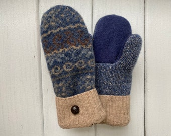 Women's Wool Sweater Mittens - Wool Mittens from recycled sweaters- Felted Mittens - Blue - Gift for her - Bernie Mittens - Fair Isle