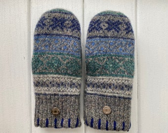 Women's Wool Sweater Mittens - Wool Mittens from recycled sweaters- Felted Mittens - Blue - Green -Gift for her - Nordic - Fair Isle