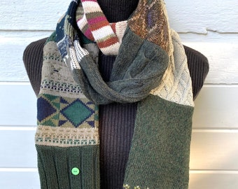 Sweater Scarf - 8 foot Long Patchwork Scarf - upcycled scarf - sweater scarf - Gift for Her - Green - Brown - recycled sweater scarf