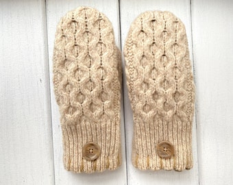 Women's Wool Sweater Mittens - Wool Mittens from recycled sweaters- Felted Mittens - Fisherman - Bernie Mittens - Gift for her