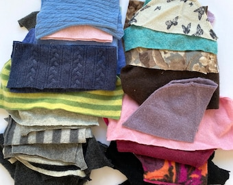 Cashmere Sweater scraps #2, supplies for crafts, cashmere wool bundle, penny rugs, doll making, flower making, appliqué
