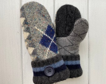 Wool Sweater Mittens - Wool Mittens made from recycled sweaters - Felted Mittens - Bernie Mittens - upcycled sweater mittens- Gift For Her
