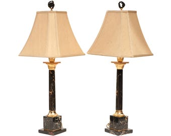 713beaee3f77 Portoro Black Marble Column Table Lamps - French Empire Style - A Pair of  Tall Buffet Lamps with Shades