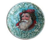 Folk Art Father Christmas Painted Wooden Bowl - Santa Claus Decorative Turned Wood Bowl