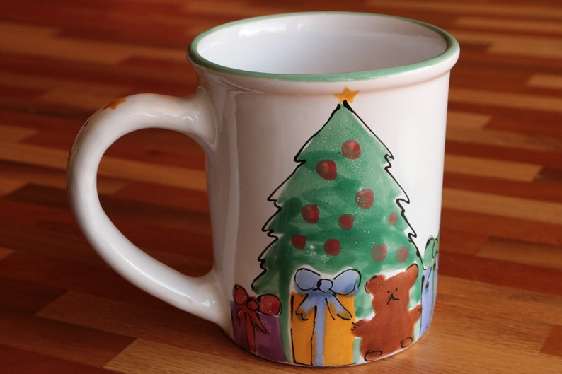 Starbucks Christmas Coffee Mugs.Starbucks Christmas Tree Coffee Mug Handpainted Coffee Lover S Coffee Cup With Teddy Bear