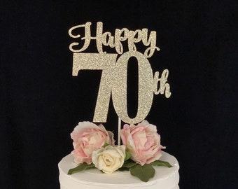 Happy 70th Birthday/ Anniversary Cake Topper