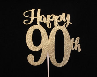 90th Birthday Cake Topper Gold Glitter 90 Happy
