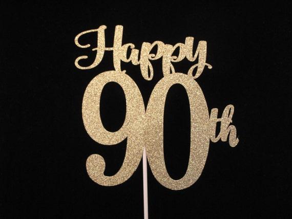 90th Birthday Cake Topper Gold Glitter 90