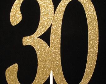 30th Birthday Cake Topper Gold Glitter Centerpiece, 30th Birthday Decorations